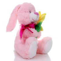 "8.5"" Daisy Bunny with Flower - Pink (Side)"