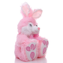 "10"" Footsie Bunny with Ribbon - Pink (Side)"