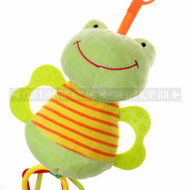 "7"" LITTLE FROG ANIMAL BABY RATTLE W/ O' RING & TEETHER (Details)"