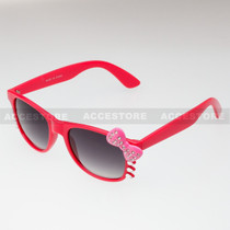 Classic Shape Hello Kitty Style Sunglasses BW5RS - Red Frame Pink Bow