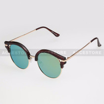 Round Shape Half Frame Mirror Lens Sunglasses 95007RV - Brown