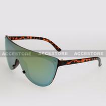 Wrap Shape Fashion Mirror Lens Sunglasses 89045RV - Tortoise Frame Yellow Lens