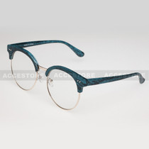 Clubmaster Round  Shape Designer Clear Lens Glasses 89012CLR - Blue