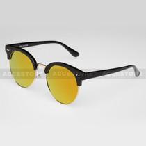 Clubmaster Round  Shape Fashion Mirror Lens Sunglasses 80620RV - Orange