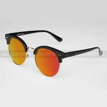Clubmaster Round  Shape Fashion Mirror Lens Sunglasses 80620RV - Purple
