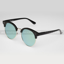 Clubmaster Round  Shape Fashion Mirror Lens Sunglasses 80620RV - Teal