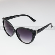 Cat Eye  Shape Rhinestone Fashion Sunglasses 80579RS - Black