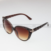 Cat Eye  Shape Rhinestone Fashion Sunglasses 80579RS - Brown