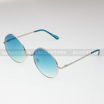 Round Shape Classic Color Lens Sunglasses 689C - Blue