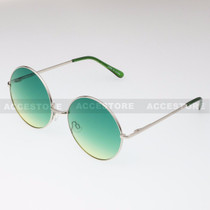 Round Shape Classic Color Lens Sunglasses 689C - Green