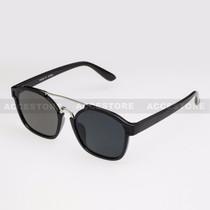 Clubmaster  Shape Retro Designer Sunglasses 96004 - Black Silver