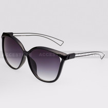 Cat Eye  Shape Fashion Wire Arm Sunglasses 89026 - Black