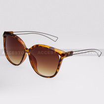 Cat Eye  Shape Fashion Wire Arm Sunglasses 89026 - Tortoise