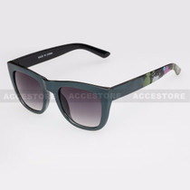 Classic Shape Abstract Graphic Arm Sunglasses 80656 - Black