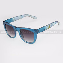 Classic Shape Abstract Graphic Arm Sunglasses 80656 - Blue