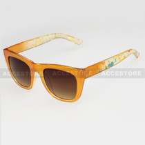 Classic Shape Abstract Graphic Arm Sunglasses 80656 - Orange
