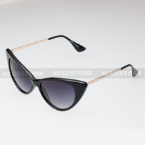 Cat Eye  Shape Retro Fashion Sunglasses 80582 - Black Gold