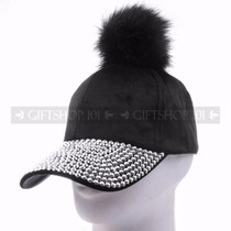 Rhinestone Baseball Caps Hat 38852 - Black Pom