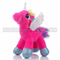 "8"" Hot Pink Magical Flying Unicorn Plush - Left"