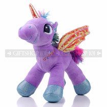 "8"" Purple Magical Flying Unicorn Plush - Right"