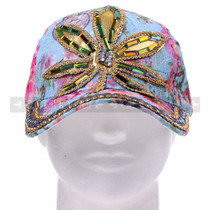 """WEED"" Metal-Buckle Back Rhinestone Hat - Blue (Front)"