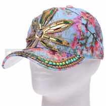 """WEED"" Metal-Buckle Back Rhinestone Hat - Blue (Side)"