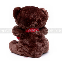 "12"" Appreciation Teddy Bear with Red Heart- Dark Brown (Back)"
