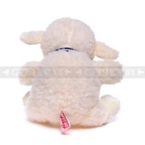 "10"" Soft White Baby Sheep with Blue Ribbon (Back)"