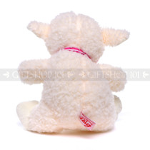 "10"" Soft White Baby Sheep with Pink Ribbon (Back)"