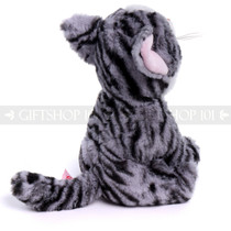 "8"" Meow Cat with Big Eyes Plush- Striped Grey with Blue Eyes (Right)"
