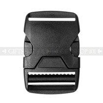 Side Release Buckles w/ Single Adjust - Plastic - 1.5 inch - Black (10PCS)