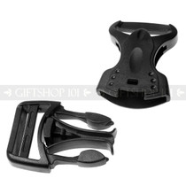 Side Release Buckles V-tech  w/ Single Adjust - Plastic - 1 inch - Black (10PCS)