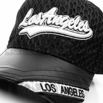 Mesh Black Los Angeles Baseball Cap with Adjustable Straps (Detail)