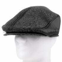 Black Leather And Cloth Flat Golfer Cap Sun Hat (Front)