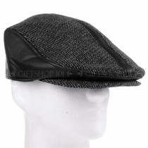 Black Leather And Cloth Flat Golfer Cap Sun Hat (Right)