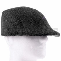 Soft Black Plush Flat Golfer Cap Sun Hat (Right)