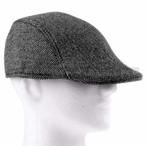 Soft Gray Plush Flat Golfer Cap Sun Hat (Right)