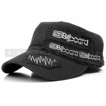 Black Denim Billboard Summer Flat Cap (Front)