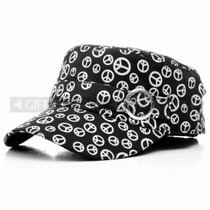 White Peace Logos Black Summer Flat Hat (Front)