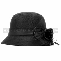 Black Outdoor Summer Flower Women Hat (Full)