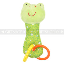 "7"" Green Frog Baby Plush Rattle Toy with Rings"