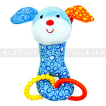 "7"" Blue Dog Baby Plush Rattle Toy with Rings"