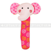 "6"" Pink Elephant Plush Baby Rattle Stick"