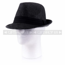 Summer Sun Fedora Hat- Black (Side)