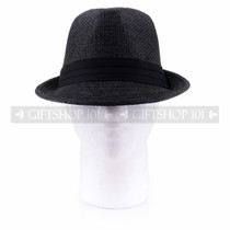 Summer Sun Fedora Hat- Black (Front)