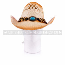 Light Brown Cowboy Straw Hat With Wooden Beads & Blue Stone (Front)