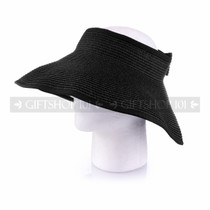 Women Travel Size Summer Beach & Sun Visor- Black (Side)