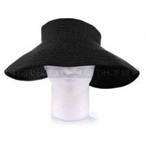 Women Travel Size Summer Beach & Sun Visor- Black (Front)