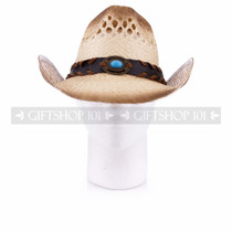 Light Brown Cowboy Straw Hat with Leather Strap & Blue Stone (Front)