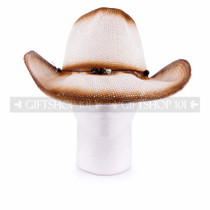 Brown Straw Summer Cowboy Sun Hat (Front)